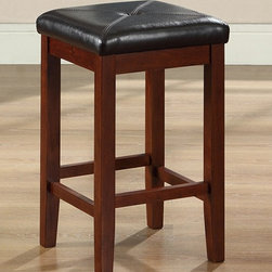 Crosley Furniture - 24 in. Upholstered Square Counter Stool - Set - Set of 2 Stools. Solid hardwood legs and stretchers. 2.75 in. Thick foam cushioned seat. Generous seating area for comfort. Hand rubbed multi-step finish. Durable stain resistant simulated leather seat. Perfect height for 36 in. H counter dining or dinette table. Vintage Mahogany finish. Assembly required. 1-Year manufacturer's warranty. 15 in. W x 15 in. D x 24 in. H (11.5 lbs.). Seat height: 24 in.