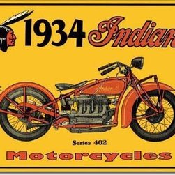 Tin Sign : 1934 Indian Motorcycles - Tin Sign : 1934 Indian Motorcycles by  Unknown. 12.5 X 16.0 inches. Give your home the that nostalgic feel with Tin Signs! You will find old style signs for your Bathroom, Living Room, Garage and even Bar Tin Signs.  Please check the exact shipping times on the item details. Actual item does not have any watermarks. All items ship fully insured, largest selection, and high end frame.