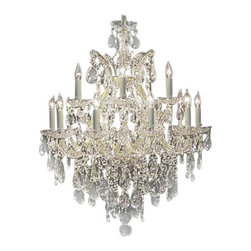 "The Gallery - CHANDELIER 30X28 W/ SWAROVSKI CRYSTAL *FREE SHIPPING!* H30"" X W28"" - Maria Theresa CHANDELIER DRESSED WITH SWAROVSKI CRYSTAL . A great European tradition. Nothing was ever quite so elegant as the fine crystal chandeliers that lent sparkle to brilliant evenings in palaces and manor houses across Europe. This beautiful version from the Maria Theresa collection is dressed with SWAROVSKI crystal that capture and reflect the light of candle bulbs resting in a scalloped bobache. The timeless elegance of these chandeliers is sure to lend a special atmosphere in every home. Please note this item requires assembly. This item comes with 18 inches of chain. SIZE: HT 30 X WD 28 LIGHTS: 13 LIGHTS Lightbulbs not included"