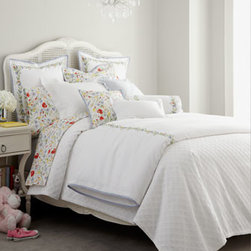 Lauren Ralph Lauren - Lauren Ralph Lauren Standard Floral Pillowcase - This all-cotton bedding collection is a playful pairing of the understated and the vibrant. Vintage influences add to the charm. From Lauren Ralph Lauren. Machine wash. Imported. White cotton pique duvet covers with floral vine embroidery, blue bindin...