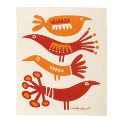 Klippan Textiles - Swedish Dishcloth Birds Red Orange - THE SWEDISH ECO-FRIENDLY DISHCLOTH: The dry sponge cloth was invented in 1949 by the Swedish engineer Curt Lindquist, who discovered that a mixture of natural cellulose (wood pulp) and cotton can absorb an incredible 15 times its own weight in water.