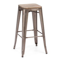 Design Lab MN - Amalfi Stackable Rustic Matte Elm Wood Seat Steel Barstool Set of 4 - The amalfi steel stackable barstool is a fantastic designed barstool to add to any restaurant, bistro or coffee house. This barstool is produced in rolled steel which can withstand any high traffic area. It also can be stacked to save space if needed. Produced by Design Lab MN, this product is manufacturer to highest standards in the furniture industry.