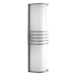 """Progress Lighting - P5915-16 Progress Lighting - Progress Lighting P5915 Parker 2 Light ADA Outdoor Wall Sconce Two-light ADA wall lantern. Can be used indoors and outdoors. Top and bottom can be removed. This product by Progress Lighting is available in satin aluminum. For use with two 26-watt compact fluorescent bulbs. Part of the Parker collection. Width/Diameter: 5-3/8"""". Height: 16-7/8"""". Uses (2) 26w Max CFL GU24 base bulbs. White acrylic half cylinder diffusers. Die cast aluminum accents top, middle, bottom, and sides. Top and bottom closures can be removed for indoor use with up and down lighting. Indoor or outdoor (with top and bottom closures in place). Painted Satin Aluminum (-16), or Antique Bronze (-20) finish. Back plate is white painted steel. Title 24 compliant. ADA Compliant. Wall mounted, vertical or horizontal. Back plate covers a standard 4"""" hexagonal recessed outlet box. Mounting strap for outlet box included. GU24 base socket. Pre-wired. UL Listed. Wet location listed (only with top and bottom closures in place)."""