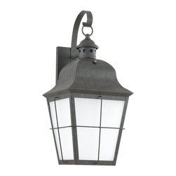 Sea Gull Lighting - Sea Gull Lighting-89273-Chatham - One Light Outdoor Wall Sconce - Oxidized Bronze Outdoor Fluorescent Wall Lantern One Light with Frosted Seeded Glass.