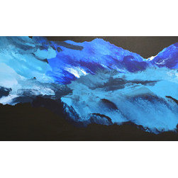 """Before The Beginning (Original) by Linda Bailey - This contemporary, abstract painting is from my 'Believe It' series. It is an original one of a kind painting created with acrylic paint on a gallery wrapped canvas. The painting was inspired by thoughts of universe images from 'before the beginning' and are created by a feeling of fluid and flow with the use of shades of blue, black and white. The painting has also drawn feedback as representing the sky, the ocean or sea and really any body of cool water or even a wave. The painting is 60"""" wide and 20"""" high with a canvas depth of 1.5"""". The painting continues around on the edges.  An archival UV-resistant, fine art gloss varnish has been applied to protect the surface of the painting. This painting is ready to hang!"""