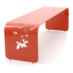 Modern Bench - So you have to call for a price, but this bench is so unique I had to include it. It's made out of formed aluminum so is great for outdoors and comes in bright colors that will really pop in your back yard. I love the flower cut-outs. Almost out of place with such an industrial material but it works.
