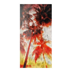 Pure Art - Palm Paradise Metal Wall Art - Escape into the gorgeous tropical paradise before your very eyes complete with tall coconut palm trees. Fiery shades of red and gold are mingled to create this fascinating scene across this metal wall hanging work of art. Panel has been skillfully crafted using aluminum metal that has been hand painted. Only top quality materials are used in producing each unique pieceMade with top grade aluminum material and handcrafted with the use of special colors, it is a very appealing piece that sticks out with its genuine glow. Easy to hang and clean.