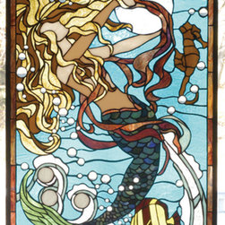 Meyda - 19 Inch W X 26 Inch H Mermaid Of The Sea Window Windows - Color Theme: Blue Blue/Green Lt Peach Ha59w Pbagw Blue