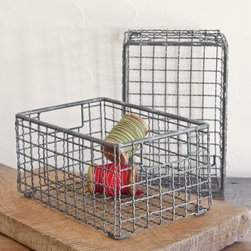 Wire Baskets, Set of 2 - These vintage modern style wire baskets are great for an artist's studio or crafty friend who needs a little help reigning in their supplies.
