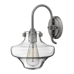 Hinkley Lighting - 3171AN Congress Wall Sconce, Antique Nickel, Hand Blown Clear Glass - Traditional Wall Sconce in Antique Nickel with Hand Blown Clear glass from the Congress Collection by Hinkley Lighting.