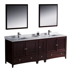 """Fresca - Fresca Oxford 84"""" Mahogany Double Sink Vanity w/ Side Cabinet - Dimensions of vanity:  84""""W x 20.38""""D x 32.63""""H. Dimensions of mirror:  31.88""""W x 31.88""""H. Materials:  Solid wood frame, MDF panels, quartz stone countertop, ceramic undermount sinks w/ overflow. Single hole faucet mounts. 5 soft close doors. 3 soft close dovetail drawers. Seamless countertop w/ matching backsplash. P-traps, faucets, pop-up drains and installation hardware included. Blending clean lines with classic wood, the Fresca Oxford traditional bathroom vanity is a must-have for modern and traditional bathrooms alike.  The vanity frame itself features solid wood in a stunning mahogany finish that's sure to stand out in any bathroom and match all interiors.   Available in many different finishes and configurations."""