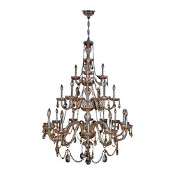 "Worldwide Lighting - Provence 21 Light Chrome Finish Amber Crystal Chandelier 38"" x 54"" Three 3 Tier - This stunning 21-light crystal chandelier only uses the best quality material and workmanship ensuring a beautiful heirloom quality piece. Featuring a radiant chrome finish and finely cut premium grade amber (translucent yellowish-orange color) crystals with a lead content of 30%, this elegant chandelier will give any room sparkle and glamour. Worldwide Lighting Corporation is a privately owned manufacturer of high quality crystal chandeliers, pendants, surface mounts, sconces and custom decorative lighting products for the residential, hospitality and commercial building markets. Our high quality crystals meet all standards of perfection, possessing lead oxide of 30% that is above industry standards and can be seen in prestigious homes, hotels, restaurants, casinos, and churches across the country. Our mission is to enhance your lighting needs with exceptional quality fixtures at a reasonable price."