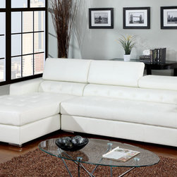 Leather Sectional Sofas - Furniture of America- CM6122WH White Leather Adjustable Sectional Sofa With Adjustable Headrest And Oversize Chaise