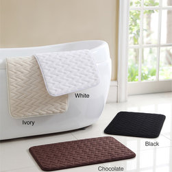 Victoria Classics - Zigzag Memory Foam 17 x 24 Bath Mat (Set of 2) - This mat features a microfiber construction so you will enjoy stepping onto this plush bath mat better than a regular mat. The two-piece memory foam set is available in black,chocolate,ivory and white.