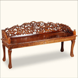 Chippendale Hand Carved Indian Rosewood Window Boudoir Bench - Invite the romance of a French Boudoir into your bedroom or living room with our Ornate Window Bench. You'll fall in love with the detailed hand carved back and sides