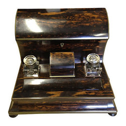 Consigned Coromandel Stationery Holder - Beautiful ebony Victorian stationary box with covered file holders and secret drawer. Antique 19th century. Excellent condition.