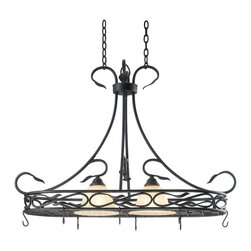 Kenroy Home - Kenroy Home Countryside 2-Light Pot Rack Royal Bronze Finish - 91562RBRZ - Subtle curves and thick hammered leaf details bring this family its cottage charm. An amber toned glass shade with a petal-like texture, blends casual with formal, making Countryside truly versatile. 8 Hooks Included.