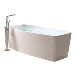 ADM - ADM White Stand Alone Solid Surface Stone Resin Bathtub, White, Glossy - SW-104