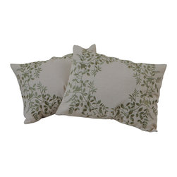 "Best Selling Home Decor - 18"" Grey Embroidered Pillows (Set of 2) - Give your home an update with this attractive pillow set. These pillows feature a linen blend cover for soft elegance. Set includes: Two pillows; Pattern: Embroidered; Color options: Grey, Green, Dark Green; Cover closure: Hidden zipper closure; Edging: Knife edge; Pillow shape: Square; Dimensions: 18 inches wide x 18 inches long; Cover: Linen Blend; Fill: 100-percent Polyester; Care instructions: Spot clean with a damp cloth."
