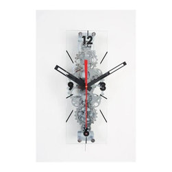 Maple's Clocks - Large Moving-Gear Wall Clock with Glass Cover - Moving gears. Assembly with no tool needed. Sweep-mode second hand. On/off switch for gear movement. Elongated retangular front glass. 7.5 in. W x 8 in. L x 22 in. HThis large wall clock features visible moving gears.  The gears are made of plastic with a chrome finish and their movement can be turned off with a pull switch if so desired.  The clock also features a large red sweep movement second hand.  A large 22 inch by 8 inch plate glass is mounted on the front with numbers every quarter hour indicated on it. The clock body dimensions are 21.75 inches by 8 inches by 7.5 inches.  Precision timing is kept with quartz crystal.  The clock is powered by 2 D batteries (not included) and includes a 1 year limited warranty.  Minor assembly is required without tools is required.