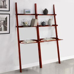None - Cherry 2-piece Leaning Laptop Shelf - To create a striking set of modern shelves, check out this two-piece cherry leaning shelf. Crafted from solid wood and MDF with a cherry finish, these shelves are simply stunning and easy to assemble. Also includes a convenient low laptop desk.