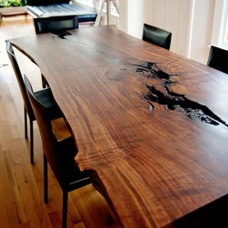 Live Edge Claro Walnut Slab Dining Table -
