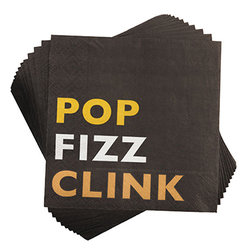 Pop Fizz Clink Napkins - Add some timeless style to your event while protecting your tables with our Pop Fizz Clink style beverage napkins. These 3-ply napkins feature front Pop Fizz Clink design and back white line details.
