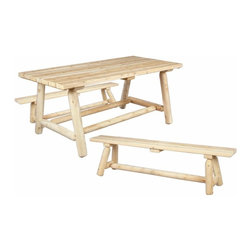 Rustic Cedar Outdoor Dining Table w Bench - Farmers - Resistant to insect damage and weather decay  cedar is the natural choice for dining al fresco. Perfect for outdoor entertaining and family gatherings  our generously sized farmer's table and matching benches are smooth sanded for maximum comfort and long-lasting good looks. When left untreated  the creamy colored cedar will weather gracefully to a silvery grey. Outdoor dining table set pieces are also sold individually.