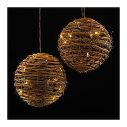 """Lamps Plus - Transitional Rattan 3-Ball Party String Lights - Add a little fun to your indoor or outdoor spaces with this set of ten string lights featuring rattan balls. Perfect for entertaining or as an eye-catching accent in bedrooms and more these lights add personality and cheer. Includes four spare bulbs and green wire. Rattan ball string lights. 35-light string. For indoor and outdoor use. Includes thirty-five 3.5v .14A clear incandescent bulbs. Includes 4 spare bulbs and 1 fuse. Includes 30"""" of brown lead wire. 12"""" of spacing between lights.  Rattan ball string light.  3 rattan balls.  For indoor use.  Includes thirty-five 3.5v .14A clear incandescent bulbs.  Includes 4 spare bulbs and 1 fuse.  Each rattan ball is 8"""" wide.  Includes 30"""" of brown lead wire.  12"""" of spacing between lights."""