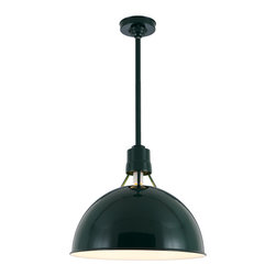 "THE AVIATOR DEEP BOWL STEM MOUNT CEILING LIGHT - 18"" Aviator shown in 95-Dark Green Finish with BLO-1/2"" ST Mounting & BLO-HSC Canopy"