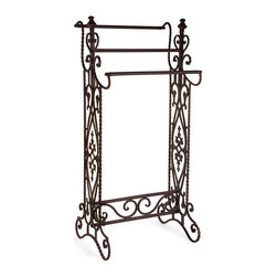IMAX Worldwide Home - Narrow Quilt Rack - Traditional.  narrow wrought iron quilt or towel rack in a dark finish with open-metalwork design features 3 horizontal bars. Towel & Quilt Racks. 36 in. H x 16.25 in. W x 13.25 in. D. Wrough Iron 80%, Cast Iron 20%