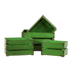 Benzara - Gorgeous Green Useful Set of Three Wooden Storage Boxes - With these set of three boxes you will never have to worry about keeping useful things in a systematic way. You can keep all your belonging in an organized way with this set of three wooden boxes. As there are gaps in between these three boxes i.e. one set you can very easily lift it and keep moving it from one room to another. You can use these boxes for storing almost anything. Apart from suing these set of boxes for indoor purposes, you can also use it outdoor. You can use of it for collection grass or flowers of your garden or put in garbage. In this way you can use these boxes for storing many things. If you want things to be organized in a systematic way you must definitely get these set of three wooden boxes. These boxes can indeed make life easy for you. So, if you have not yet got one, better get one soon before it gets too late. This set of three wooden storage box measures 18.51 inch (width) x13 inch (D) x11.03 inch (H), 16.54 inch (width) x11.42 inch (D) x8.85 inch (H) and 14.57 inch (width) x9.85 inch (D) x9.06 inch (H) ; Essential home storage box; Easy storage and cleaning