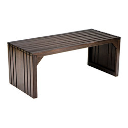 Sabrina Slatted Bench in Espresso - Elegant with a sleek profile, the Sabrina Slatted Bench is both a stylish and a humble seating addition or table alternative. Place it in the entry, use it as seating at the dining table, or warm up the foot of your bed with its beautiful form. The open space below the bench makes for a great place to keep storage baskets in the hallway.