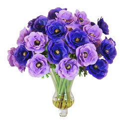 Jane Seymour Botanicals - Anemones in Glass Vase - There's a certain magic touch only flowers can provide — and these delightful poppy anemones make it happen forever! The beautiful bouquet, so realistic it looks fresh-cut, adds instant elegance while bringing out the blue tones in your decor.