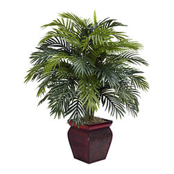 Nearly Natural - Areca with Decorative Planter Polyester Plant - Materials: Polyester material,plastic,iron wire,resinPlant type: ArecaRelaxing beauty,palm tree