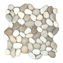 "CNK Tile - Java Tan and White Pebble Tile - Each pebble is carefully selected and hand-sorted according to color, size and shape in order to ensure the highest quality pebble tile available.  The stones are attached to a sturdy mesh backing using non-toxic, environmentally safe glue.  Because of the unique pattern in which our tile is created they fit together seamlessly when installed so you can't tell where one tile ends and the next begins!     Usage:    Shower floor, bathroom floor, general flooring, backsplashes, swimming pools, patios, fireplaces and more.  Interior & exterior. Commercial & residential.     Details:    Sheet Backing: Mesh   Sheet Dimensions: 12"" x 12""   Pebble size: Approx 3/4"" to 2 1/2""   Thickness: Approx 1/2""   Finish: Natural Tan and White"
