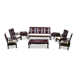 """China Furniture and Arts - Rosewood Imperial Court Living Room Set (8pcs) - Our living room set of eight pieces exhibits the grandioso tradition of the imperial court. Made of solid rosewood and beautifully handcrafted with skillful joinery technique for long lasting durability. The set includes a long sofa (73""""x26""""x37""""h), four armchairs (26""""x26""""x37""""h/each), a coffee table (49""""x20""""x16""""h) and two one-drawer lamp tables (22""""x22""""x22""""/each). The imperial atmosphere shows through the inlaid design with mother of pearl on every item and the tiger-paw design of the feet. Ideal for hosting parties in your living room. Hand applied dark cherry finish. Silk cushions included."""