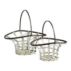 Cyan Design - Cyan Design Ellie Baskets, Rustic Gray and Bronze - -Rustic Gray and Bronze Finish