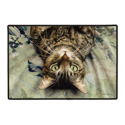 310-Peculiar Perspective Doormat - 100% Polyester face, permanently dye printed & fade resistant, nonskid rubber backing, durable polypropylene web trim. Use on the porch or near your back entrance to the house. Indoor and outdoor compatible rugs that stand up to heavy use and weather effects