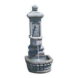 Campania - Cortina Garden Water Fountain - The Cortina Garden Fountain offers a contemporary style and elegance. The water creates a tranquil flowing water sound from this multi-tiered. The finishing techniques make every piece a uniquely beautiful and original work of art.