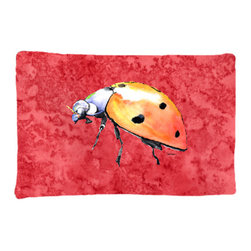 Caroline's Treasures - Lady Bug on Red Fabric Standard Pillowcase Moisture Wicking Material - Standard White on back with artwork on the front of the pillowcase, 20.5 in w x 30 in. Nice jersy knit Moisture wicking material that wicks the moisture away from the head like a sports fabric (similar to Nike or Under Armour), breathable performance fabric makes for a nice sleeping experience and shows quality. Wash cold and dry medium. Fabric even gets softer as you wash it. No ironing required.