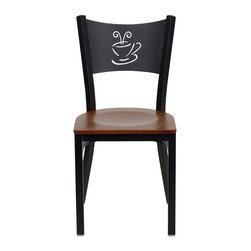 Flash Furniture - Flash Furniture Hercules Series Black Back Metal Chair in Cherry - Flash Furniture - Dining Chairs - XUDG60099COFCHYWGG - Provide your customers with the ultimate dining experience by offering great food service and attractive furnishings. This heavy duty commercial metal chair is ideal for Restaurants Hotels Bars Lounges and in the Home. Whether you are setting up a new facility or in need of a upgrade this attractive chair will complement any environment. This metal chair is lightweight and will make it easy to move around. This easy to clean chair will complement any environment to fill the void in your decor. [XU-DG-60099-COF-CHYW-GG]