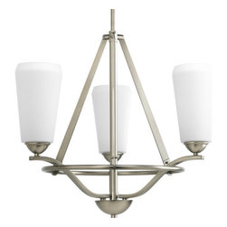 Progress Lighting - Progress Lighting P4670 Moments Three-Light Single-Tier Chandelier - A trio of etched glass shades encircled with a lustrous metal rim on this chandelier.Features: