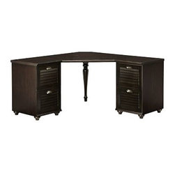 "Whitney Corner Desk Set, 1 Desktop & 2 2-Drawer File, Heritage Espresso stain - Create your perfect work space with our Whitney Desk. With beautiful details like shuttered doors, bun feet and a two-tone finish, it brings beauty as well as utility to the home office. 84.5"" wide x 57"" deep x 30"" high Set includes 1 corner desktop, one 2-drawer file cabinet and one 3-drawer file cabinet. Set the corner hutch (sold separately) atop the desk to expand your storage options. Desktop finished in weathered pine, drawer and cabinets finished in almond white."