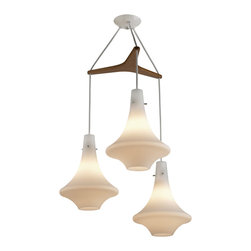 Orbis Tri: Mid-Century Modern Chandelier - If I had Eames chairs to go around my dining table, I think I would really like this light over it. It's so sleek and mid-century mod!