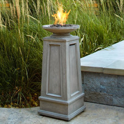 Grandin Road - Corsica Fire Column - A classical look for an outdoor fire. Crafted from lightweight fiber-concrete with a limestone finish. Refillable stainless steel burn cup and lava rock included. Uses one liquid propane tank (not included). Basic assembly required. The stunning Corsica Fire Column presents an elegant approach to the art of the outdoor fire. A shallow bowl rests atop a classical pillar, tapered with recessed panel details. This ventless fireplace is a dramatic addition to any patio or porch. A narrow footprint makes it a great fit, even in small outdoor spaces.. . . . . Cover unit with included vinyl cover when not in use. CSA Certified. Imported.