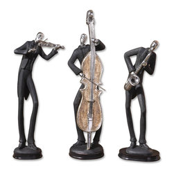 Uttermost - Musicians Decorative Figurines, Set of 3 - Every home needs a great jazz trio and here's yours! These statues are finished in slate gray with silver-plated accents and dark brown chestnut bases. They make a great gift for a musical friend.