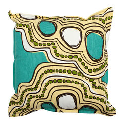 Working Class Studio - Sarah Outdoor Pillow - Aegean - Take an abstract approach to alfresco style with this pretty pillow. The intriguing print and mix of hues recall the sky, the sea and the sand — ideal for your outdoor decor.