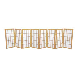 Oriental Furniture - 2 ft. Tall Desktop Window Pane Shoji Screen - Natural - 8 Panels - Featuring traditional Japanese style adapted for the modern home, this two foot tall Window Pane Shoji Screen is the perfect size for setting below or on top of a table or desk, making a modified window treatment, or using as a decorative accent. Lightweight and portable, the translucent rice paper is fiber-reinforced for extra durability and the frame is built from Scandinavian Spruce. This classic design will complement any style of decor!