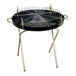 "Kay Home Products - Deluxe Folding Charcoal Grill - 24"" - Portable charcoal grill with a sleek and contemporary design. Stamped steel construction. This grill has an adjustable, three position, cooking grid.Features:"